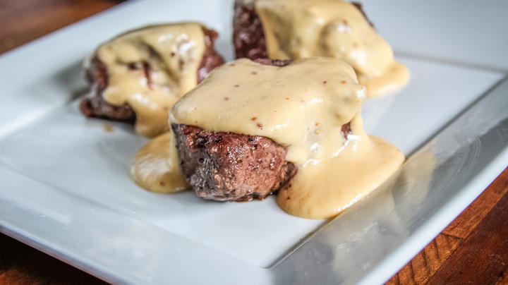 Pan-Grilled Backstrap Topped with Beer Cheese Sauce Recipe Preview Image
