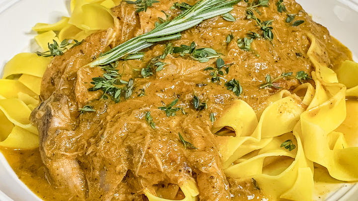 Braised Rabbit over Pappardelle Pasta Preview Image
