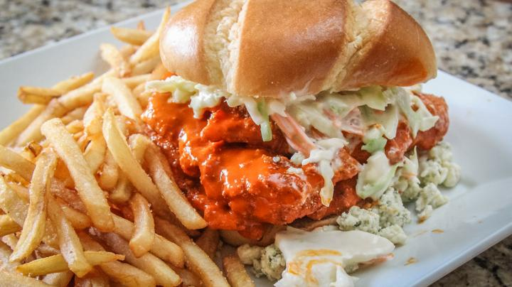 Crispy Buffalo-Style Catfish Sandwich with Slaw and Blue Cheese Recipe Preview Image
