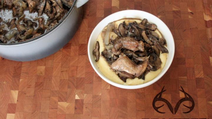 Hard Cider-Braised Squirrel and Mushrooms Recipe Preview Image