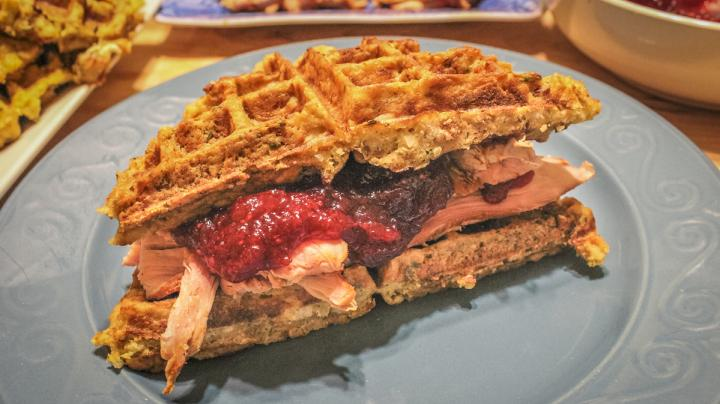 Wild Turkey Sandwich on a Cornbread Stuffing Waffle Recipe Preview Image