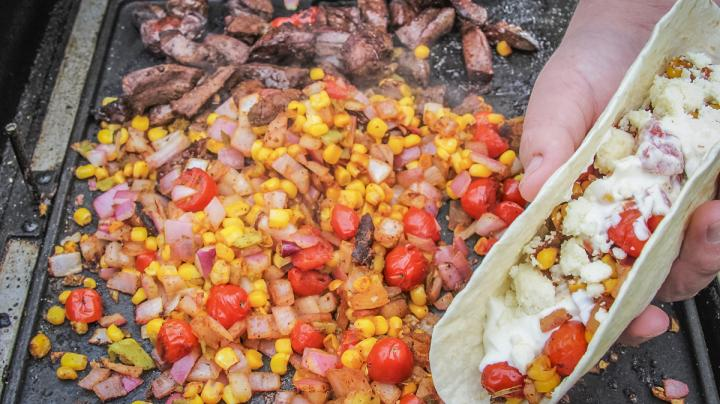 Deer-Heart Tacos with Sweet-Corn and Pickled-Red-Onion Salsa Recipe Preview Image