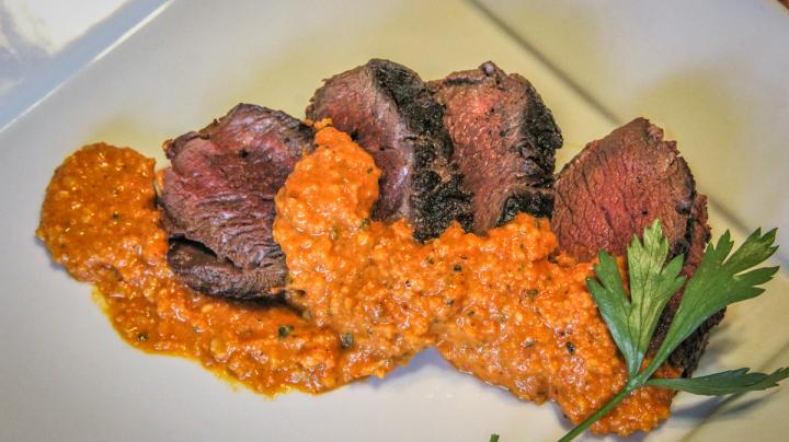 Grilled Backstrap with Romesco Sauce Recipe Preview Image