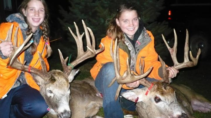 Two Girls, One Farm, Two Giant Wisconsin Whitetails Preview Image