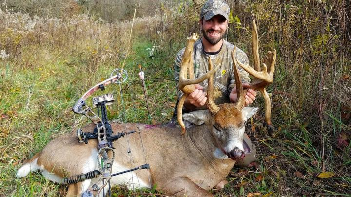 Bowhunter Kills Double Drop Tine Booner Buck Preview Image
