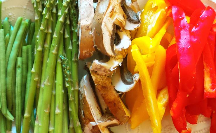 Slice your favorite vegetables into long thin strips.