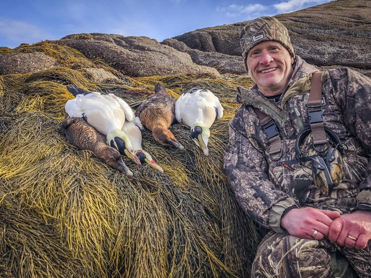The author's group took some dandy drake common eiders durinig the hunt's first day. Photo © Brian Lovett