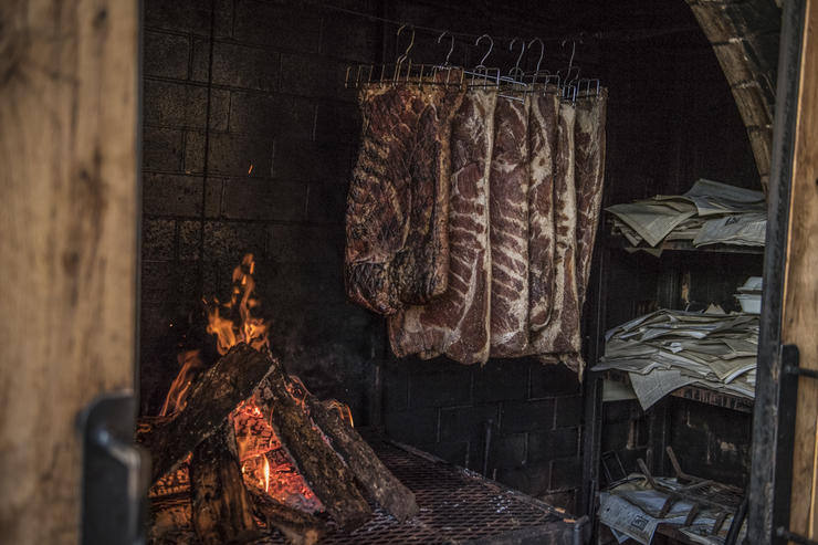 Inside the smokehouse.