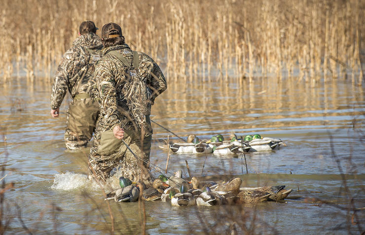 Many small waters have frozen, but hunters who can find open spots near food will likely cash in. Photo © Bill Konway