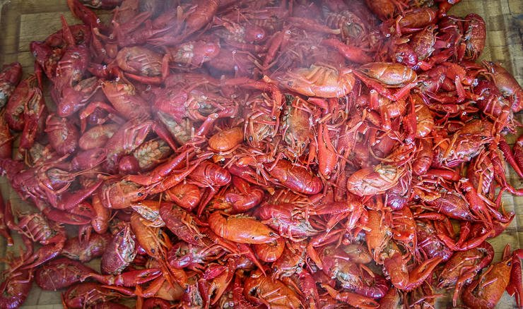 Not much makes us happier than a steaming pile of spicy crawfish.