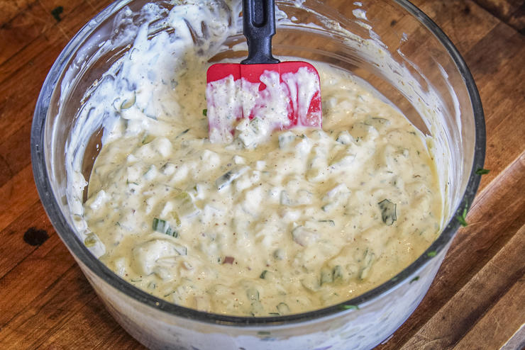 Mix the tartar sauce up to a day ahead and refrigerate till needed.