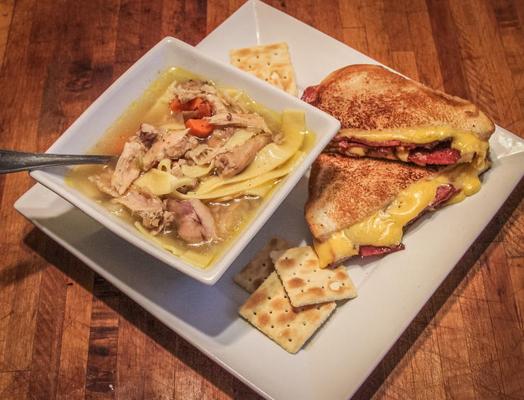 We like to serve the soup with a grilled cheese and venison-bacon sandwich for a complete meal.