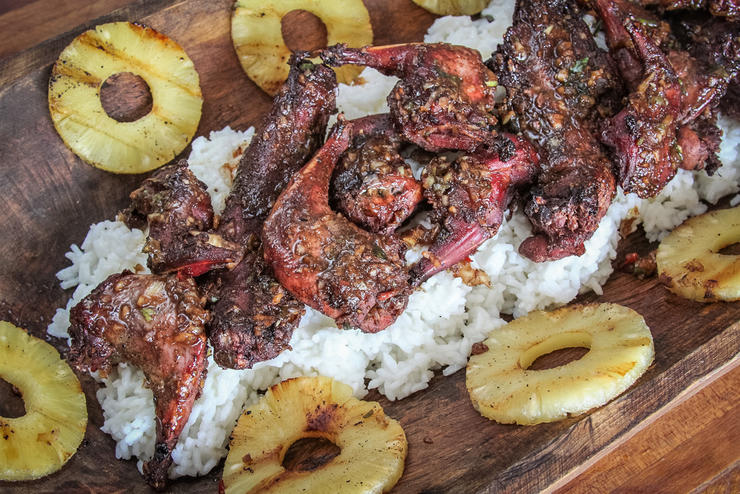 Serve over white rice with grilled pineapple slices.