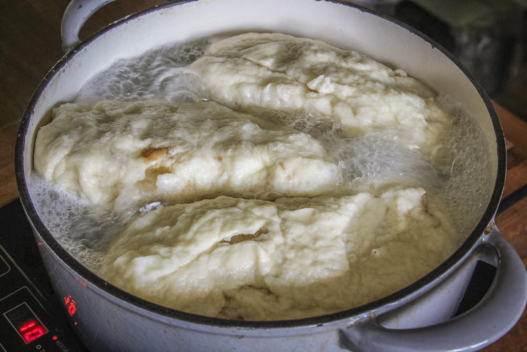 Boil the dumplings in salted water until cooked through.