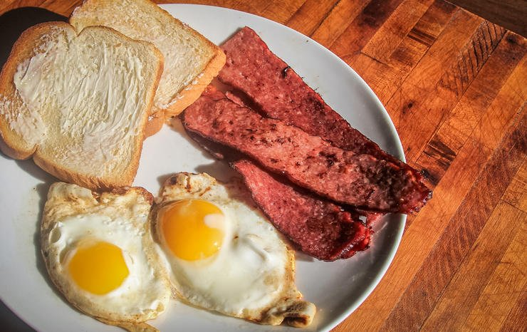 Pan-fried venison bacon makes a great breakfast.