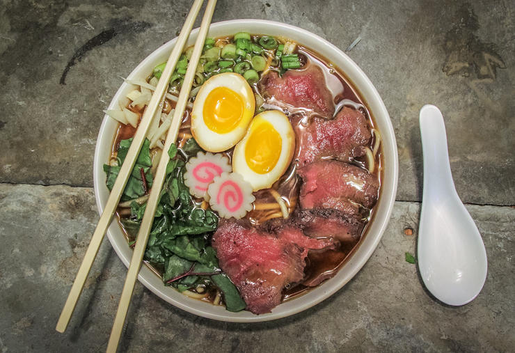 Serve the ramen bowl with traditional chop sticks and a spoon, or just a regular spoon. Either way, it makes a great meal.