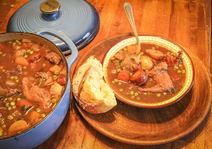 Serve the stew with a piece of crusty freshly baked bread.