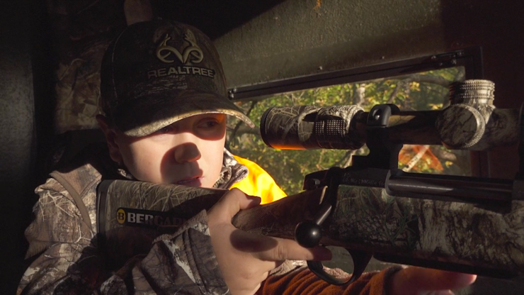 Colton Jordan takes the safety off, gets down on the gun, and pulls the trigger. (Realtree photo)