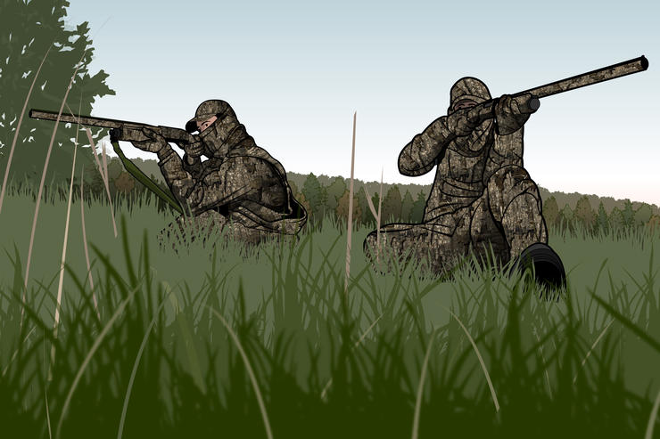 Decide in advance who is going to shoot which bird, on which side. © Pete Sucheski illustration