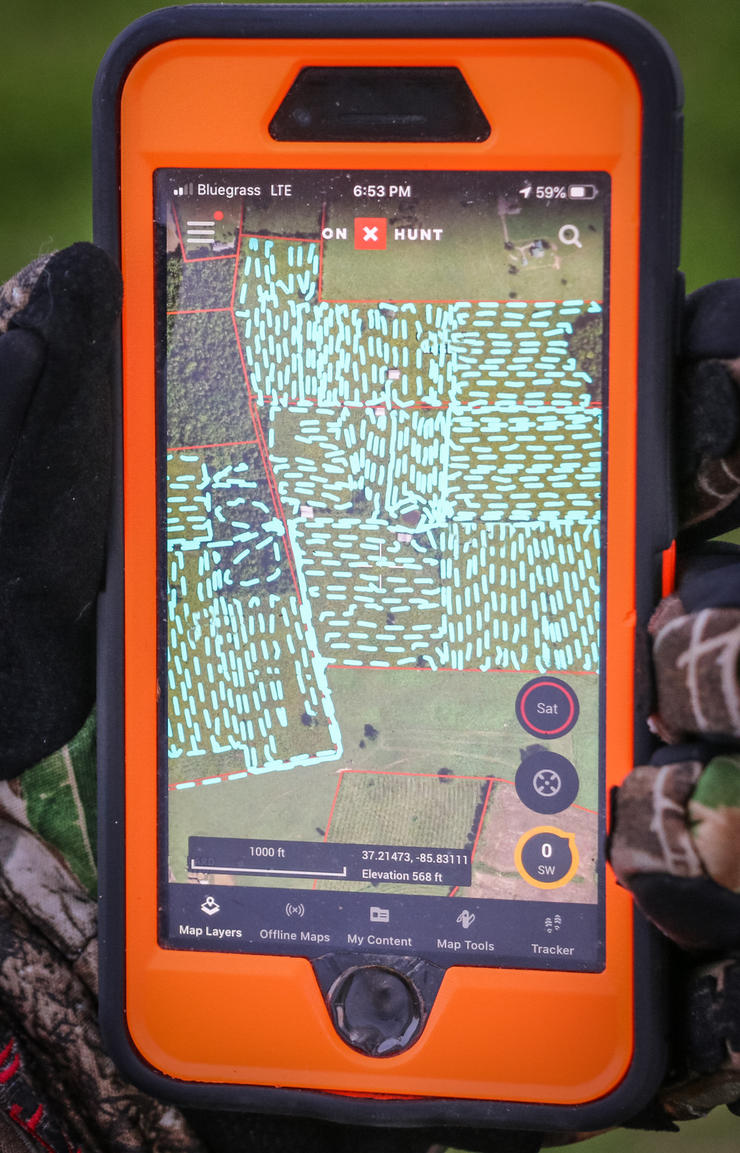 """The """"tracker"""" function is great for shed hunting, grid searching for deer, entry routes, and more. (Josh Honeycutt photo)"""