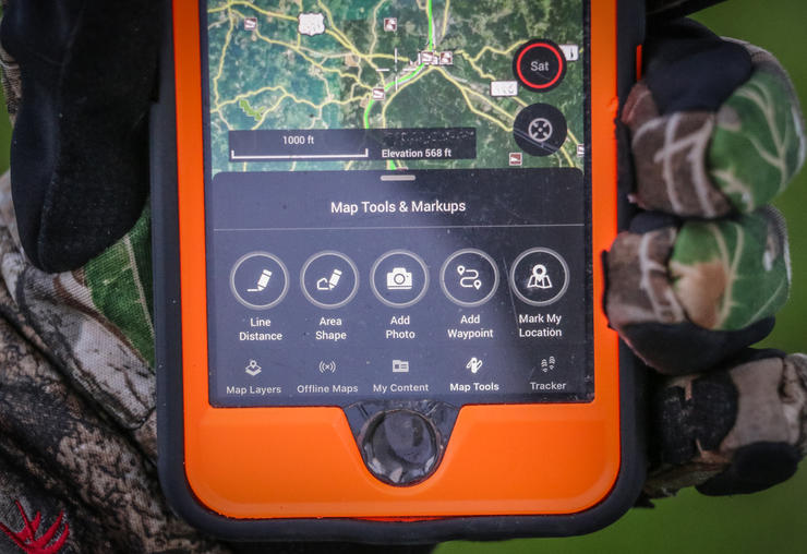 The onX app is loaded with applicable hunting features. (Josh Honeycutt photo)