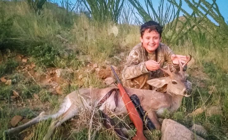 Zachary Brown shows off his first deer; a great coues whitetail. (Nathan Brown photo)