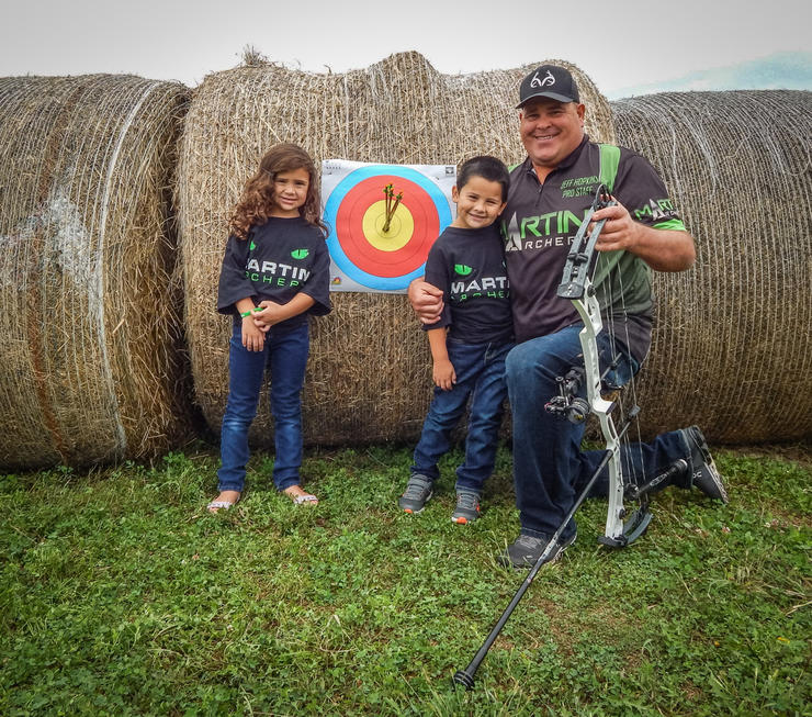 Martin Archery's Jeff Hopkins does a lot of blind-bale shooting during the off-season. (Jeff Hopkins photo)