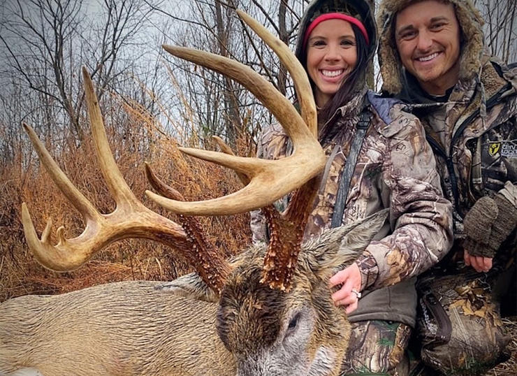 After sitting through a late-November soaker, a slight break in precipitation put this buck in Ashley Noe's crosshairs. The massive deer only has a 13 ½-inch spread. (Photo courtesy of Jake and Ashley Noe)