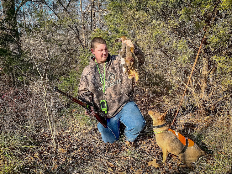 Potroast and his Mountain Feist Ellie with proof that hunting with a good dog adds excitement to chasing squirrels.  Image by Michael Pendley