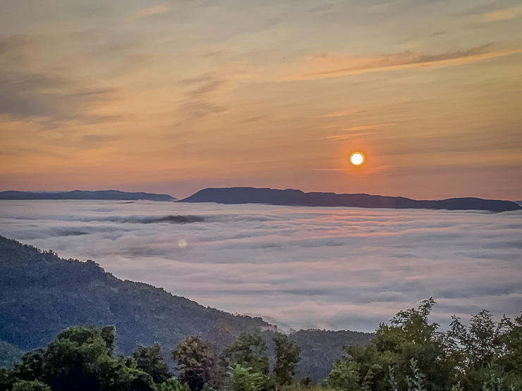 Mornings found us high atop the mountain watching the sun rise over the blanket of fog in the valley below. Photo by M. Pendley