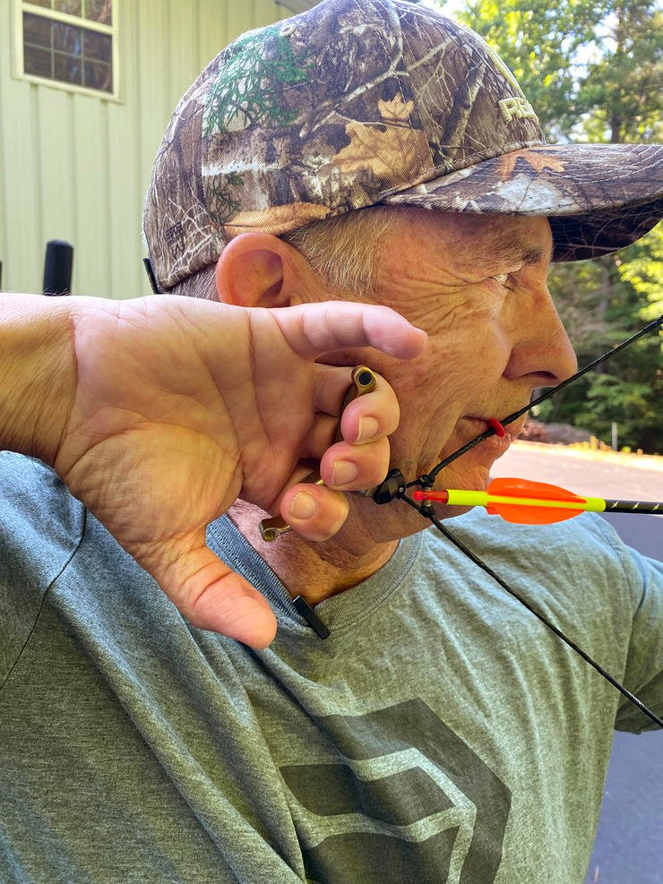 David Blanton is working through target panic issues with the help of a hinge release. Image by Realtree