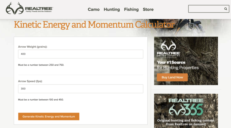 If you know your arrow weight and speed, use Realtree's KE and Momentum calculator to figure out what your bow will do.