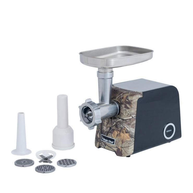 The Magic Chef Meat Grinder comes with multiple grinding plates and sausage stuffing tubes.