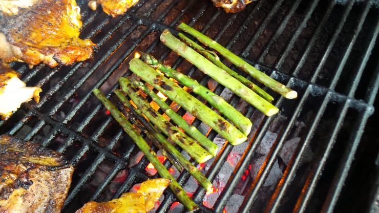 A quick turn over hot coals is the perfect way to prepare wild asparagus.