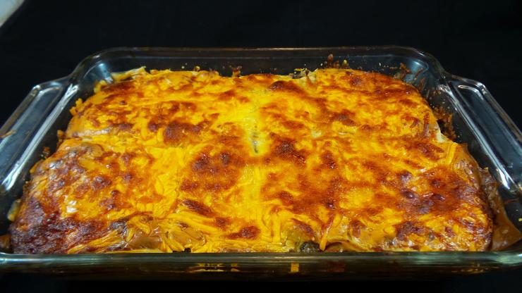 Bake until the lasagna is golden brown and the cheese has melted.