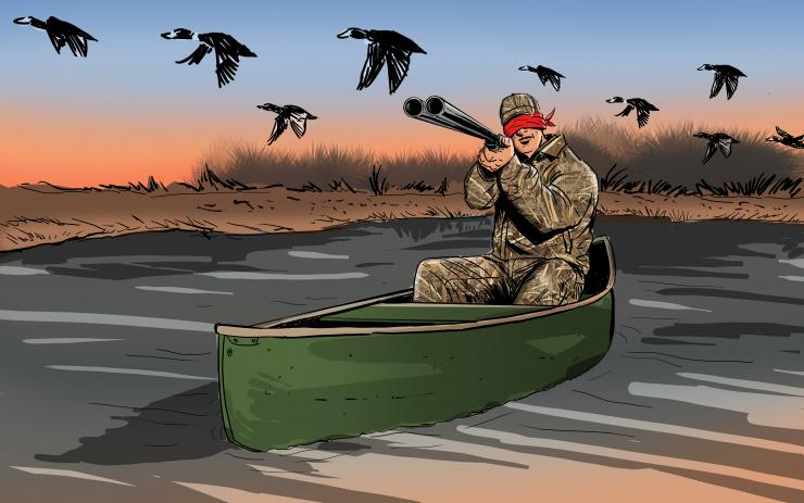 Every day in the duck marsh is different, but some hunts can get downright strange. Illustration © Ryan Orndorff