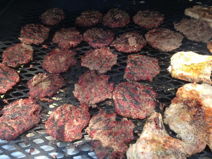 Elk burgers are a big hit around any camp. Season well and press down the center to keep them flat.