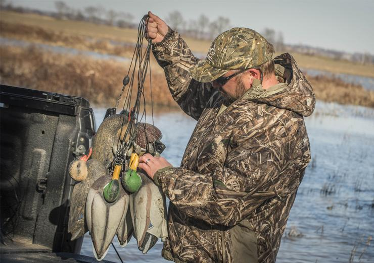 Texas-rigged decoys are ideal for shallow-water hunts. In fact, many waterfowlers use the method almost exclusively nowadays. Photo © Bill Konway