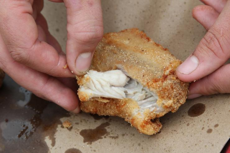 Deep-fried rattlesnake features firm white meat that peels cleanly away from the bone.