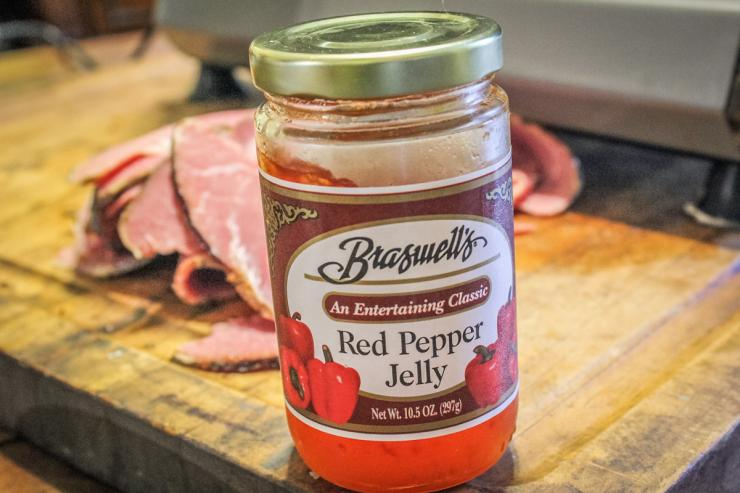 Red pepper jelly adds a touch of sweetness and heat to the dish.
