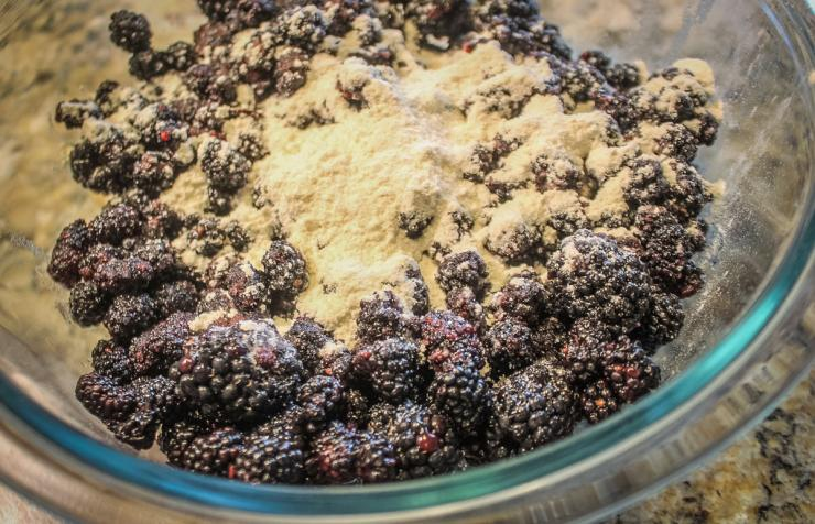 Toss the blackberries with a bit of flour and sugar.