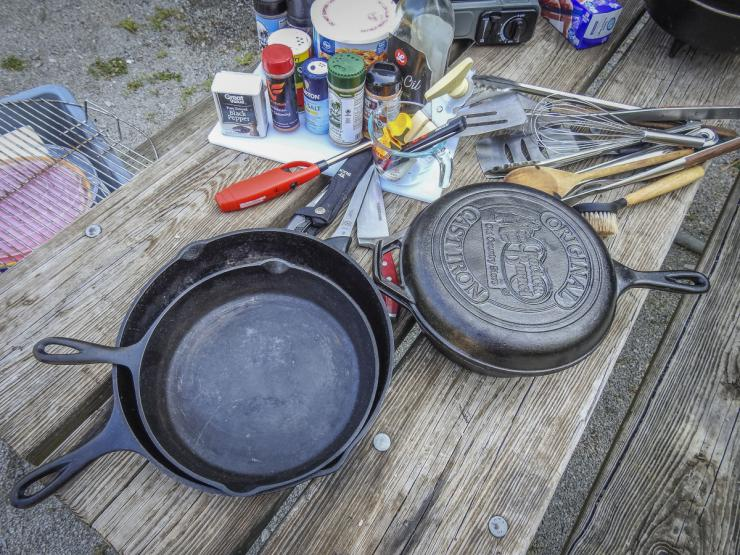 Cast iron skillets are perfect for camp cooking.