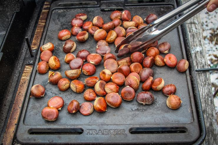 The cast iron griddle on the Traeger Ranger is perfect for roasting chestnuts.