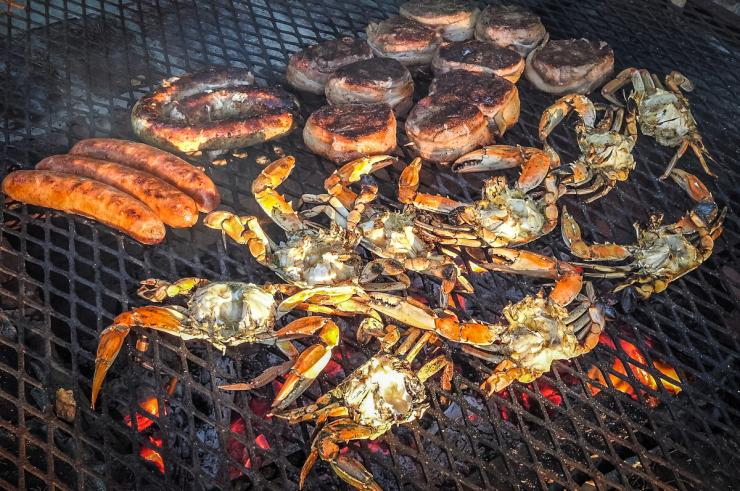 Grill the crabs for 5-10 minutes per side until the shells turn bright red.