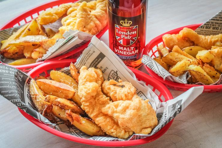 Serve the fish and chips in a paper lined basket with fresh lemon or malt vinegar.