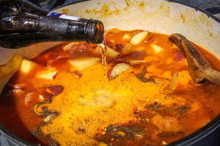 Pour a beer into the pan before adding the fish.