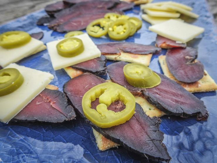 Serve the sliced goose breast on crackers. Top with jalapeno, cheese, or anything else you like.