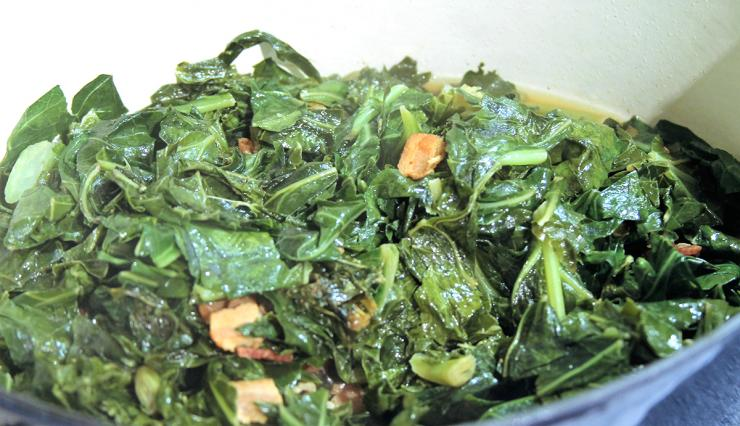 Slow cook the collard greens in bacon grease then dress with red pepper flakes and a splash of vinegar before serving.