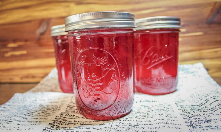 The finished jelly gets its beautiful pink color from the blossoms.
