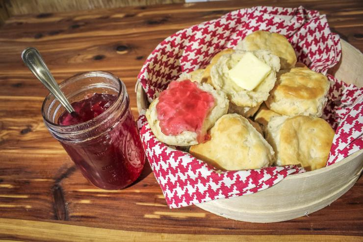 Serve the jelly on a hot, buttered biscuit.
